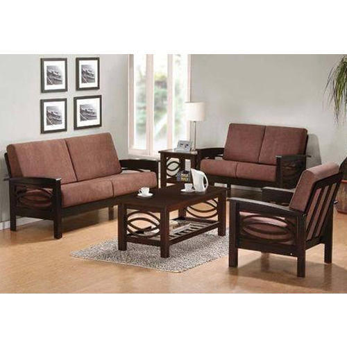 Designer Wooden Sofa Set With Table Ak Steel Furniture