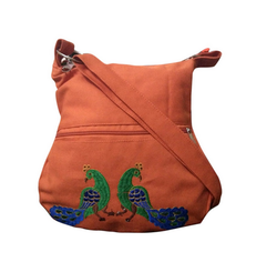 Women's Peacock Sling Bag With Embroidery Orange