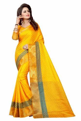 6e2e5fb457 Kanjivaram Silk Yellow Fancy Saree with Blouse Piece, Saree Length: 5.5 m