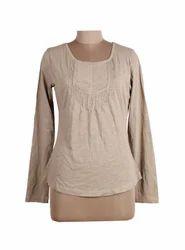 Ladies Brown Hosiery Full Sleeve Top, Size: S & M