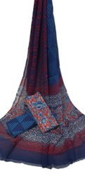 Hand Block Printed Cotton Dress Material With Chiffon Dupatta