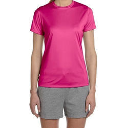 Round Ladies Pink Polyester T-Shirt, Size: Large