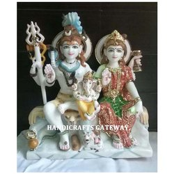 Beautiful Marble Shankar Parvati Statue
