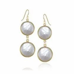 Pearl Sterling Silver Bezel Set Earrings