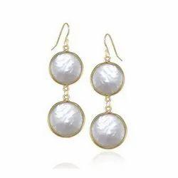 Nanplanetsilver Pearl Sterling Silver Bezel Set Earrings, Size: Approx 1 To 1.50 Inches