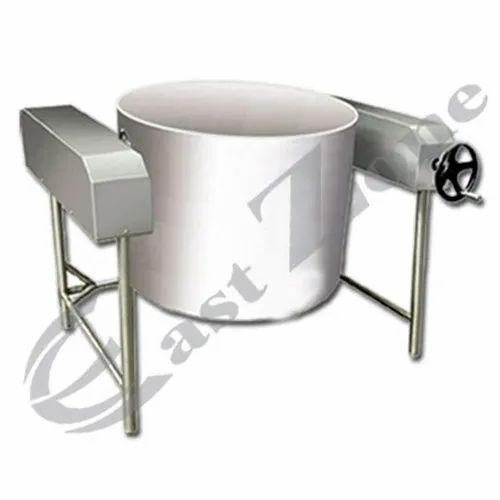 Round East Zone Silver Electric Tilting Frying Pan For Industrial