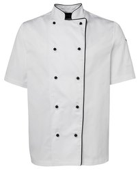 White and Black Unisex Cotton Chef Coat, For Hotel