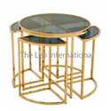 Luxury Style Decorative Metal and Glass Coffee Table Golden Finish