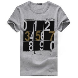 Men's Cotton Printed Grey T-Shirt