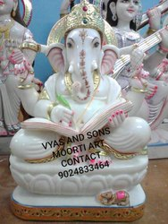 Ganesh Statue In White Marble