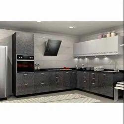 Sleek World L Shape Modern PVC Modular Kitchen, Kitchen Cabinets