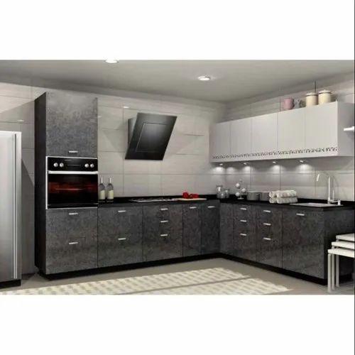Sleek World L Shape Modern Pvc Modular, Sleek Kitchen Cabinets Design