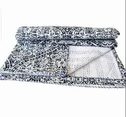 Black And White Printed Kantha Bedspread