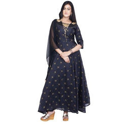 3/4th Sleeves Embroidered Blue Georgette Anarkali Suit