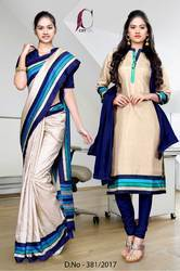 Navy Blue and Golden Italian Crepe Uniform Saree Kurti Combo