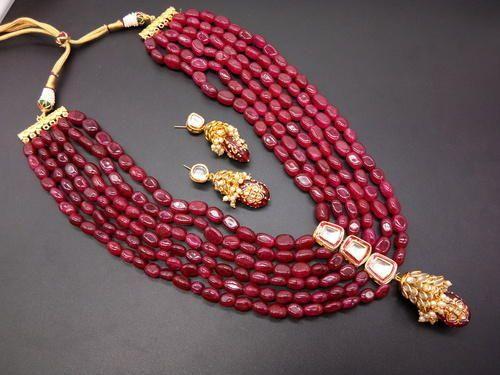 2160673b7b5 long red necklace images Designer bollywood inspired kundan red bead long  necklace bridal jpg