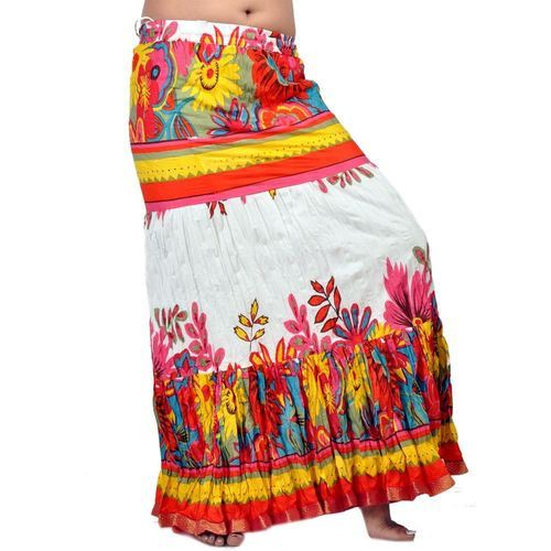 ff7dce27df Cotton White And Orange Rajasthani Long Skirt, Size: 38 Inch, Rs 478 ...