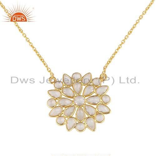 Dws Round Flower Design Gold Plated 925 Silver Cz Chain Pendants