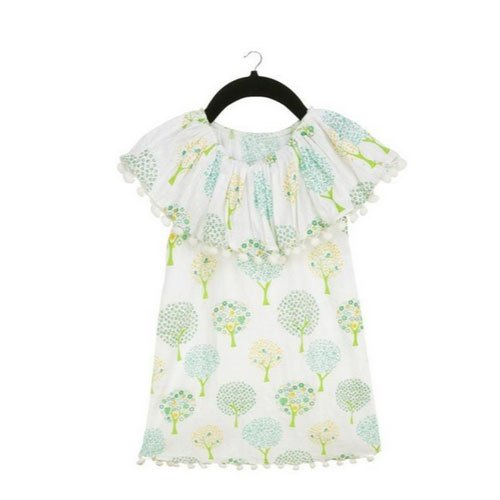 Cotton Kids Girls Printed Sleeveless Party Wear Dress