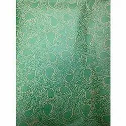 Green Non Woven Metallic Printed Fabric