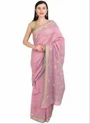 Lucknowi Chikan Work Rose Pink Saree