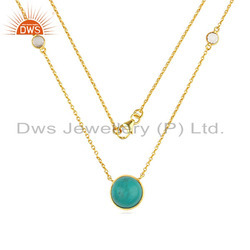Zircon Turquoise Gemstone Designer Gold Plated Silver Necklace Jewelry