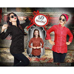 Cotton Red and Brown Stylish Ladies Shirts