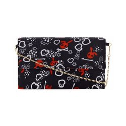 Azzra Black Printed Fabric Wooden Clutch