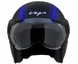 Vega Jet Old School Dull Black Blue Helmet