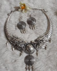 Veerji creation Women Oxdised German Silver Neck Piece