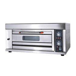 Stainless Steel Rectangular 1 Deck 2 Tray Gas Baking Oven, For Commercial