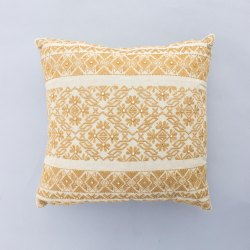 Ochre Embroidery Cotton Cushion Cover