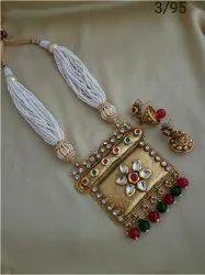 Golden Brass Jewellery Set, Size: Adjustable