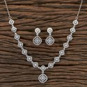Rhodium Plated Cz Classic Necklace 406509