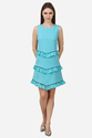 Women Sleeveless Blue And Black Frill Western Dress