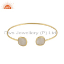 Silver Gold Plated Handmade Rainbow Moonstone Cuff Bangle