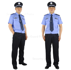 Blue Viscose And Polyester-Cotton Security Guard Uniform