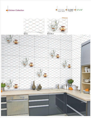 Ceramic 18x12 Digital Kitchen Wall Tiles No. 4212, 0-5 Mm