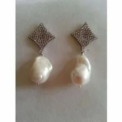 925 Sterling Silver Earrings with Natural Baroque Pearl