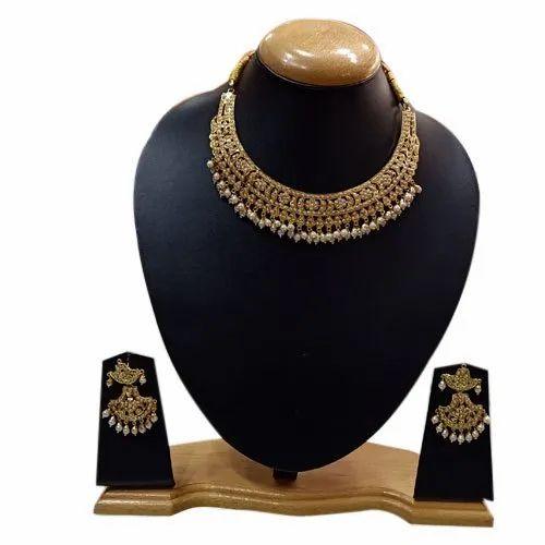 Party Ladies Designer Golden Necklace Set, Packaging Type: Box