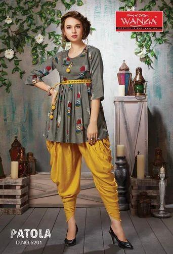 e79ad2cc9c Patola Rayon Kediya Dhoti With Wedding Kurti, Rs 765 /piece | ID ...