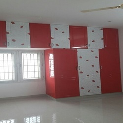 Red PVC Membrane Plywood Cupboard