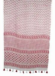 Hand Block Jaipuri Cotton Woman Stole Lades Scarf 22x72 Inches