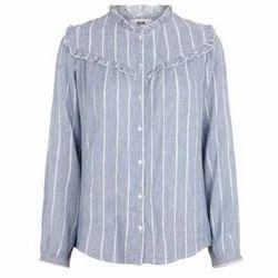 Cotton Grey Striped Ladies Shirt