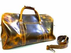 Black Waxy Pullup leather Duffle Bag, For Travel
