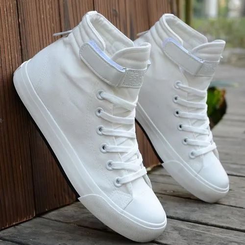 Men White High Ankle Canvas Sneakers