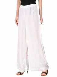 Regular Skin Fit Women''s Rayon Chikan Embroidery Palazzo Pants For Women