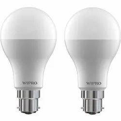 Pure White 12 W 12W Wipro LED Bulb, Base Type: B22
