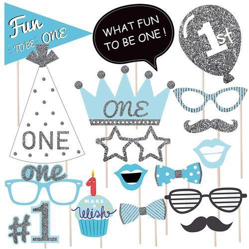 Wobbox First Birthday Celebration Photo Booth Props For Birthday Party Glitter Blue At Rs 100 Packet Party Props Id 20221793188