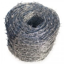 Silver Galvanized Iron Fencing Barbed Wire, Size: 20 Meter Per Roll
